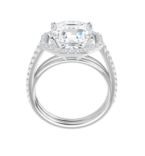Asscher Moissanite Halo Engagement Ring - 3.01tcw - 3.68tcw