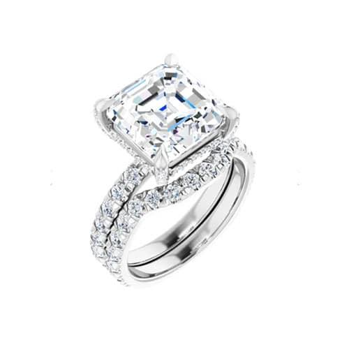 Asscher Moissanite Hidden Halo Engagement Ring - 3.21tcw - 3.88tcw