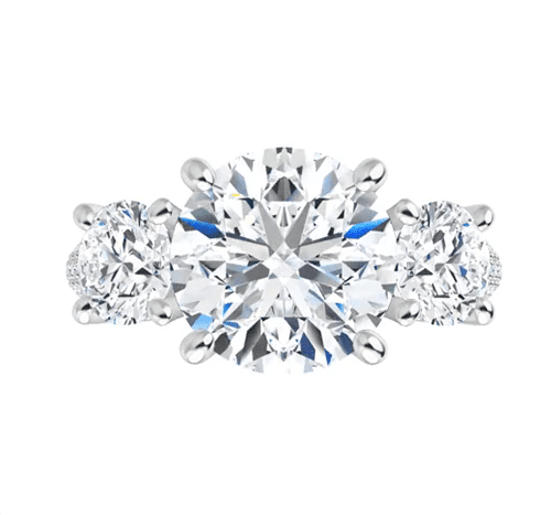 Round Moissanite 3 Stone Engagement Ring - 2.20tcw - 4.80tcw
