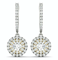 Round Moissanite Halo Drop Earrings - 2.25tcw