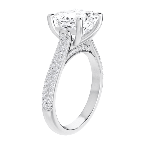 Asscher Moissanite Side Stones Engagement Ring - 3.15tcw - 4.05tcw