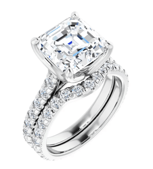 Asscher Moissanite Side Stones Engagement Ring - 3.06tcw - 3.73tcw