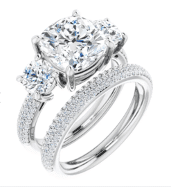 Cushion Moissanite 3 Stone Engagement Ring - 1.95tcw - 5.85tcw