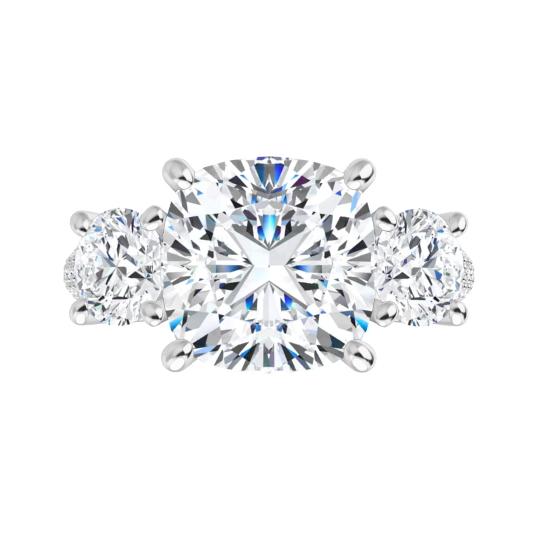 Cushion Moissanite 3 Stone Engagement Ring - 1.95tcw - 5.85tcw