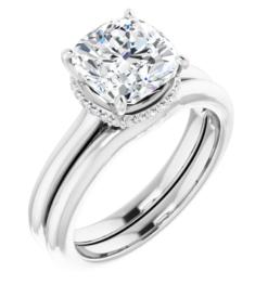 Cushion Moissanite Hidden Halo Engagement Ring - 1.95tcw - 5.27tcw