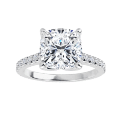 Cushion Moissanite Side Stones Engagement Ring - 2.55tcw - 5.85tcw