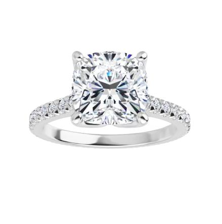 Cushion Moissanite Side Stones Engagement Ring - 2.55tcw - 5.85tcw