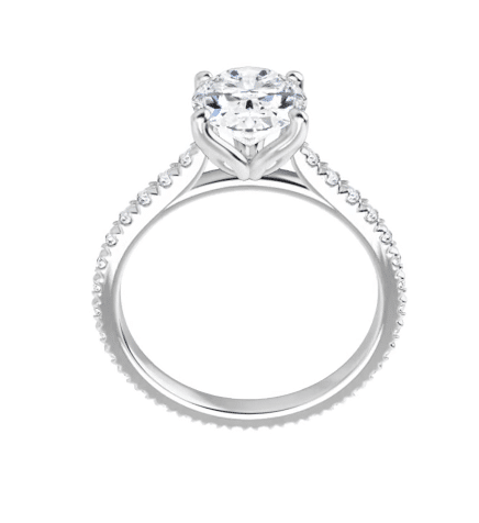Oval Moissanite Side Stones Engagement Ring - 2.35tcw - 5.05tcw
