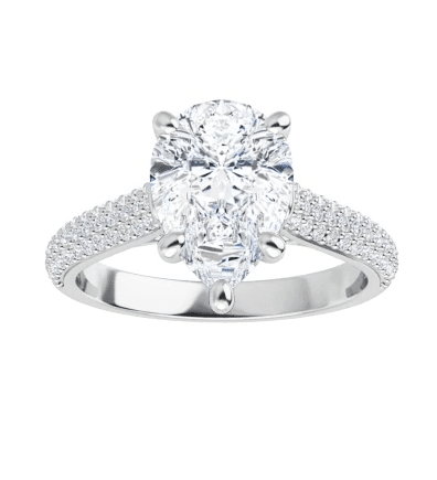 Pear Moissanite Side Stone Engagement Ring - 2.40tcw - 4.45tcw