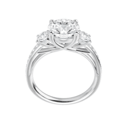 Round Moissanite 3 Stone Engagement Ring - 1.75tcw - 4.35tcw