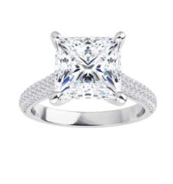 Square Moissanite Side Stones Engagement Ring - 2.20tcw - 4.00tcw