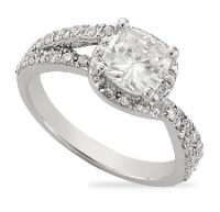 Cushion Moissanite Micro Pave Halo Engagement Ring