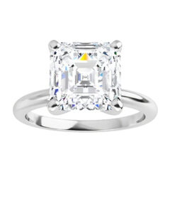 Asscher Moissanite Forever One Solitaire Ring