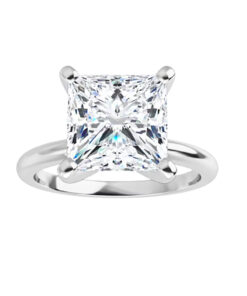 Square Moissanite Forever One Solitaire Ring