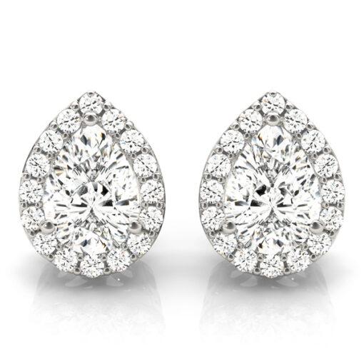 Pear Moissanite Forever One Halo Earrings