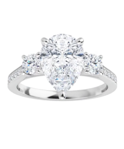 Pear Moissanite Forever One 3 Stone Ring