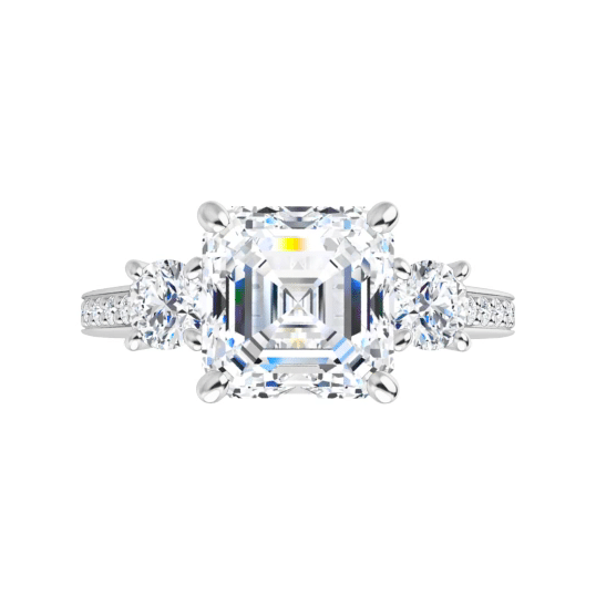 Asscher Moissanite 3 Stone Ring - 2.00tcw - 2.71tcw