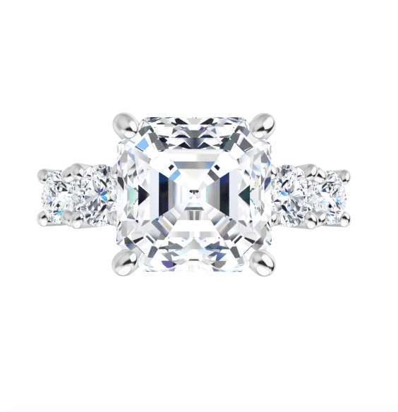 Asscher Moissanite 5 Stone Engagement Ring - 3.25tcw - 4.15tcw