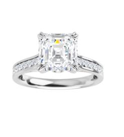 Asscher Moissanite Channel Band Bezel Engagement Ring - 1.95tcw