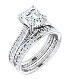 Asscher Moissanite Channel Band Bezel Engagement Ring - 1.95tcw