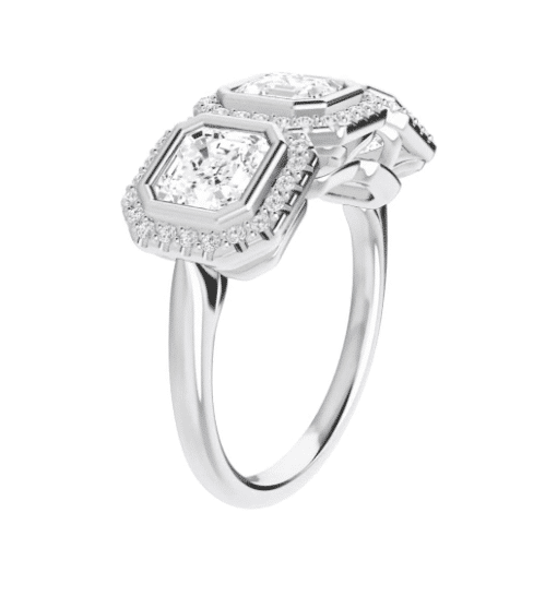 Asscher Moissanite Halo 3 Stone Ring - 2.45tcw - 3.45tcw