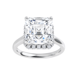 Asscher Moissanite Hidden Halo Pave Engagement Ring - 2.46tcw -3.03tcw