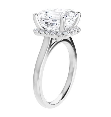Asscher Moissanite Hidden Halo Pave Engagement Ring - 2.46tcw -3.03tcw