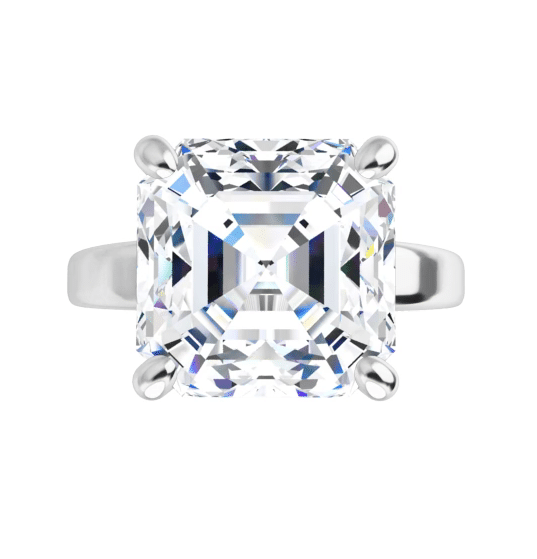 Asscher Moissanite Solitaire Ring - 3.00tcw - 3.90tcw