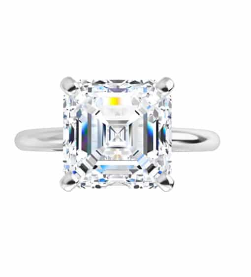 Asscher Moissanite Solitaire Ring - 0.95tcw - 2.88tcw