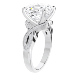 Asscher Moissanite Twisted Band Engagement Ring - 2.80tcw - 3.60tcw