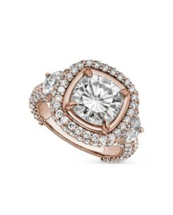 Cushion & Half Moon Moissanite Pave Engagement Ring - 5.55tcw