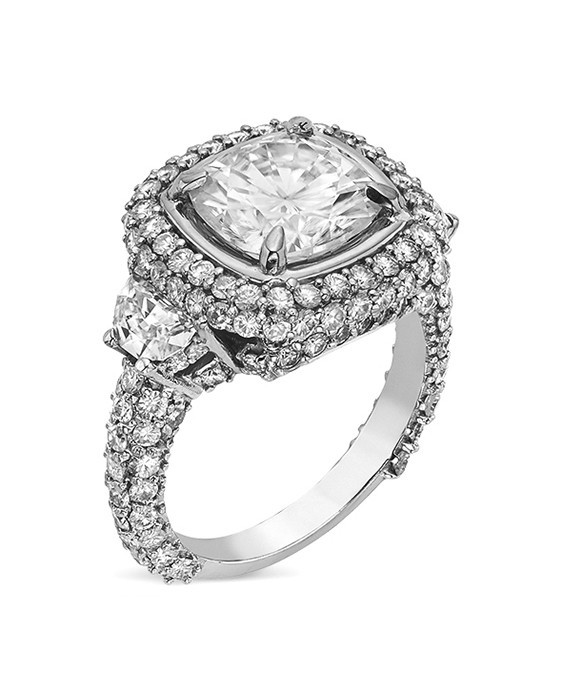 Cushion & Half Moon Moissanite Pave Engagement Ring - 5.55tcw