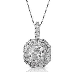 Cushion Halo Micro Pave Pendant - 2.48tcw