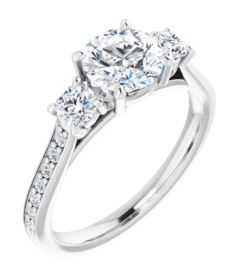 Cushion Moissanite 3 Stone Ring - 2.20tcw - 2.90tcw