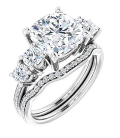 Cushion Moissanite 5 Stone Engagement Ring - 2.70tcw - 6.00tcw