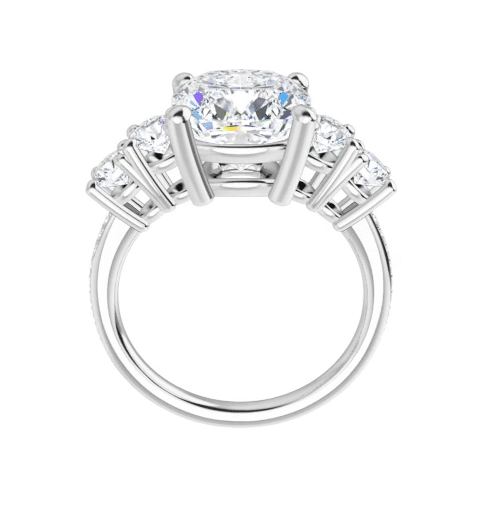 Cushion Moissanite 5 Stone Engagement Ring - 2.70tcw - 6.00tcw