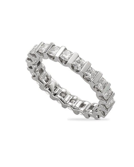 Cushion Moissanite Bar Set Eternity Wedding Band Ring - 2.60tcw - 7.50tcw