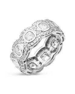 Cushion Moissanite Bezel & Pave Eternity Ring - 3.50tcw