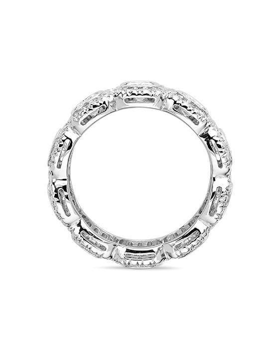 Cushion Moissanite Bezel & Pave Eternity Ring - 3.50tcw