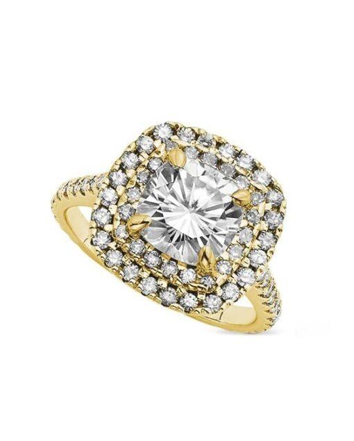 Cushion Moissanite Engagement Ring - 3.20tcw
