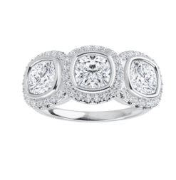 Cushion Moissanite Halo 3 Stone Ring - 2.45tcw - 3.95tcw