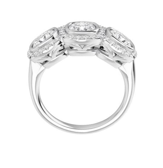 Cushion Moissanite Halo 3 Stone Ring - 2.45tcw - 3.95tcw