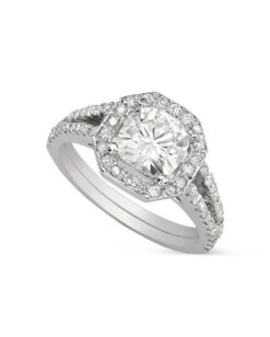 Cushion Moissanite Halo Engagement Ring - 1.85tcw