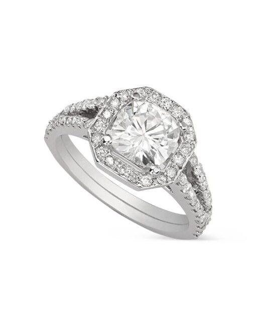 Cushion Moissanite Halo Engagement Ring - 1.85tcw