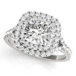 Cushion Moissanite Halo Engagement Ring - 1.10tcw - 2.20tcw
