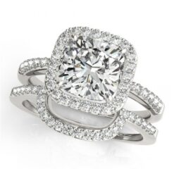 Cushion Moissanite Halo Micro Pave Engagement Ring - 1.55tcw - 5.47tcw