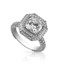 Cushion Moissanite Halo Pave Ring - 6.78tcw