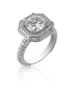 Cushion Moissanite Halo Pave Ring - 6.78tcw