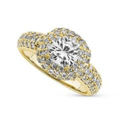 Cushion Moissanite Halo Pave Ring - 2.22tcw