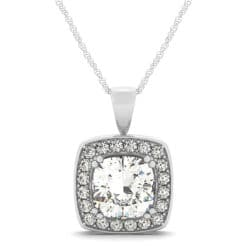 Cushion Moissanite Halo Pendant - 0.80tcw - 3.50tcw